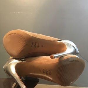 BCBGMaxAzria Shoes - BCBG MaxAzria Nude and Silver Ankle Strap Stiletto